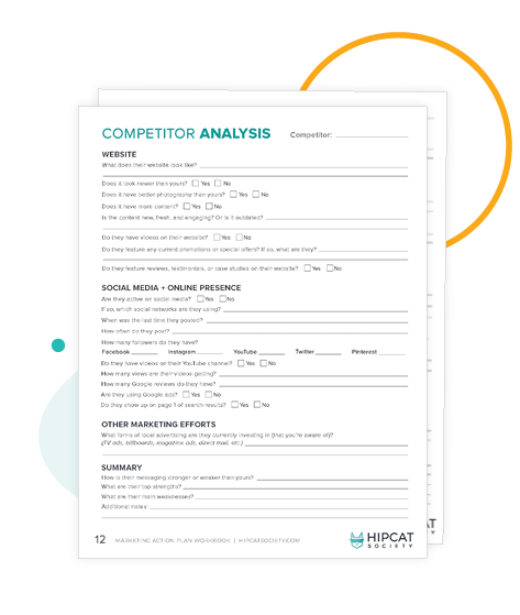 Preview of competitor analysis worksheets in the workbook