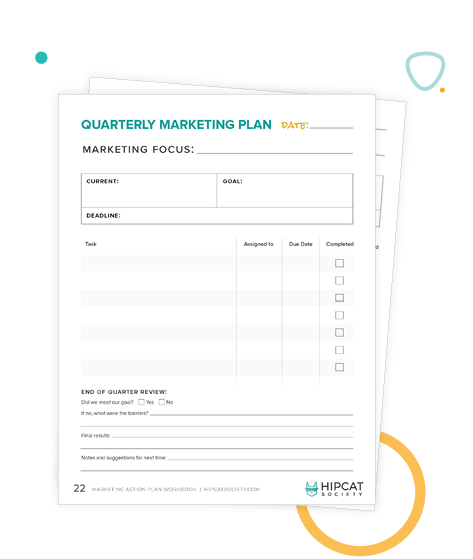 Preview of marketing checklist in the workbook