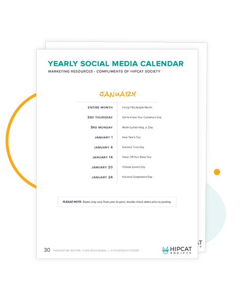 Preview of social media calendar in the workbook