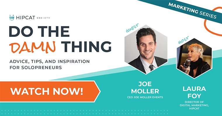 Graphic of Joe Moller and Laura Foy for Event Planning live on Do The Damn Thing