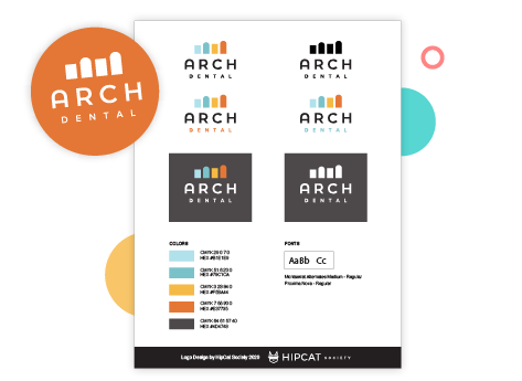 An image showing the branding and logo design for Arch Dental Fargo
