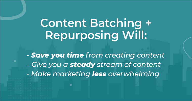 Text that describes the benefits of content batching and repurposing