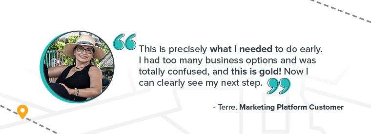 Marketing platform testimonial by Terres (actual customer)